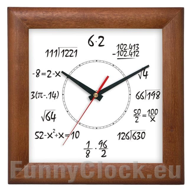 Maths wooden wall clock square funnyclock square wooden clock light oak aloadofball Choice Image