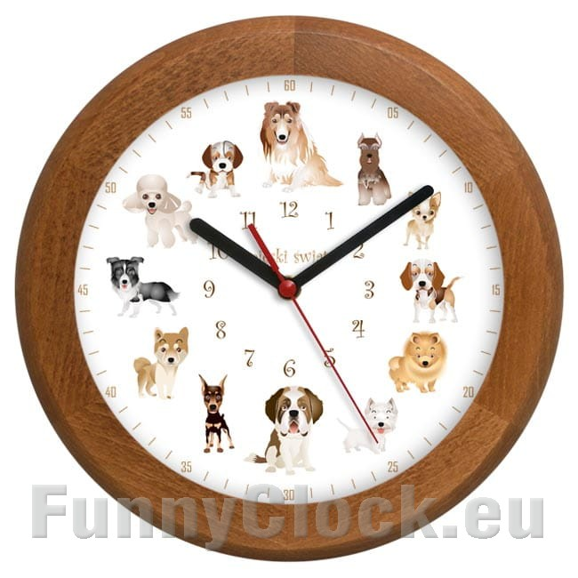 Rondo Wooden Wall Clock Dogs World 2 Funnyclock