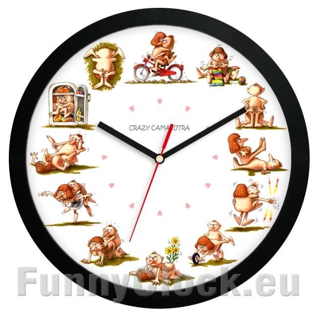 Crazy Kamasutra wall clock silver FunnyClock