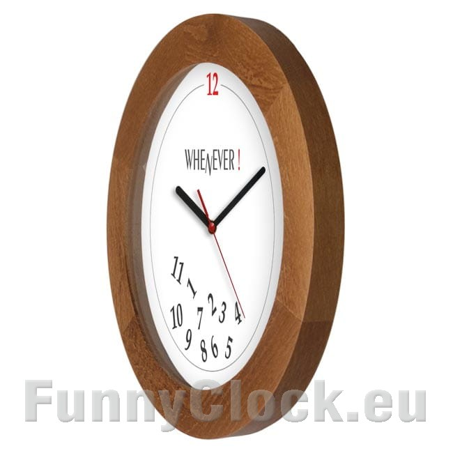 Wooden Wall Clock Solid Whenever Funnyclock
