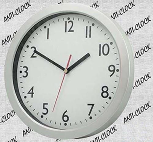 Silver Wall Clock Round Reverse Funnyclock